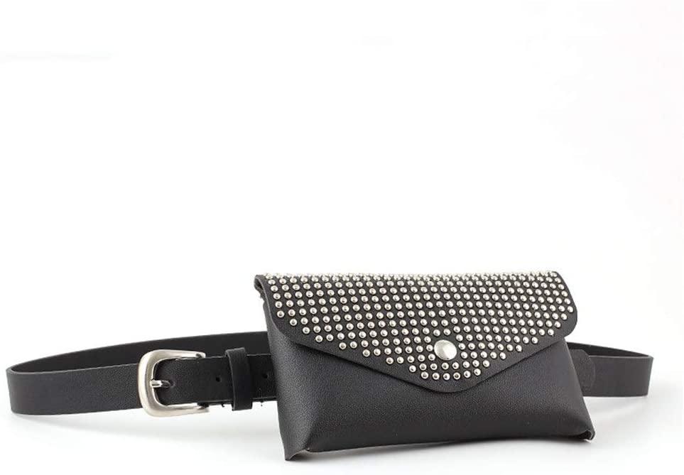 Women's Waist Bag Women Small Belt Bags Round Metal Rivet Waist Bag PU Leather Fanny Pack Adjustable Removable Belt with Waist Pouch Travel Bumbag Cell Phone Money Pouch Leather Waist Packs