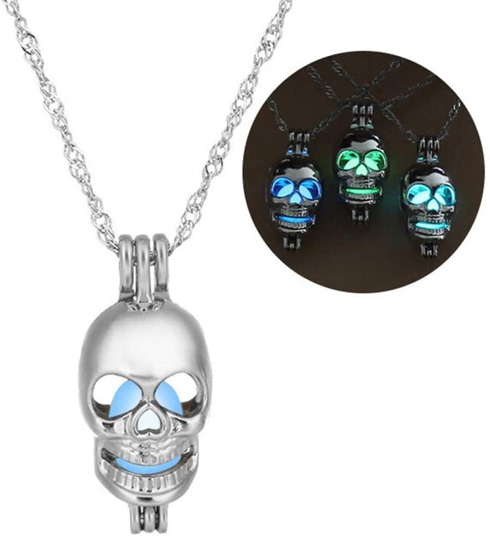 Greendou Fashion Jewelry Luminous Series Skeleton Head Pendant Necklace Fluorescent Necklace, Glow in The Dark (Blue)
