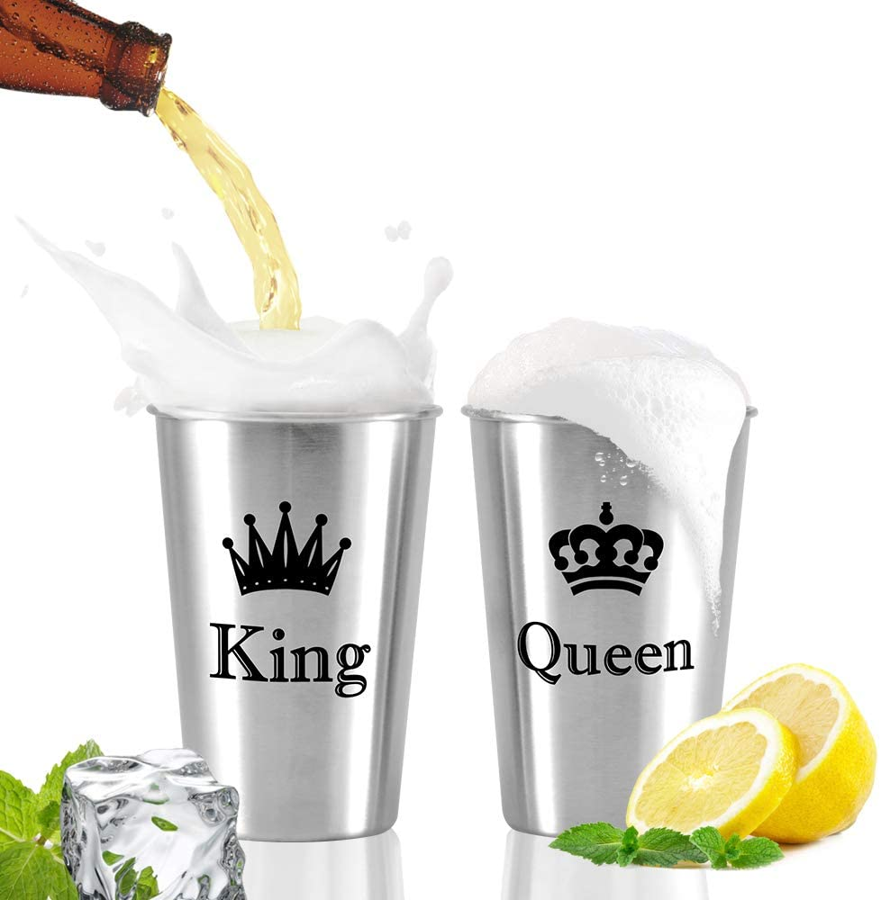 Unbreakable Love,King & Queen Couple Mug,Stainless Steel Cups,Beer Cups,Perfect Present for Wedding,Engagement Newlyweds,Anniversary,Couples,Birthday,Bridal Shower (KING & QUEEN, 16.9 oz x2)