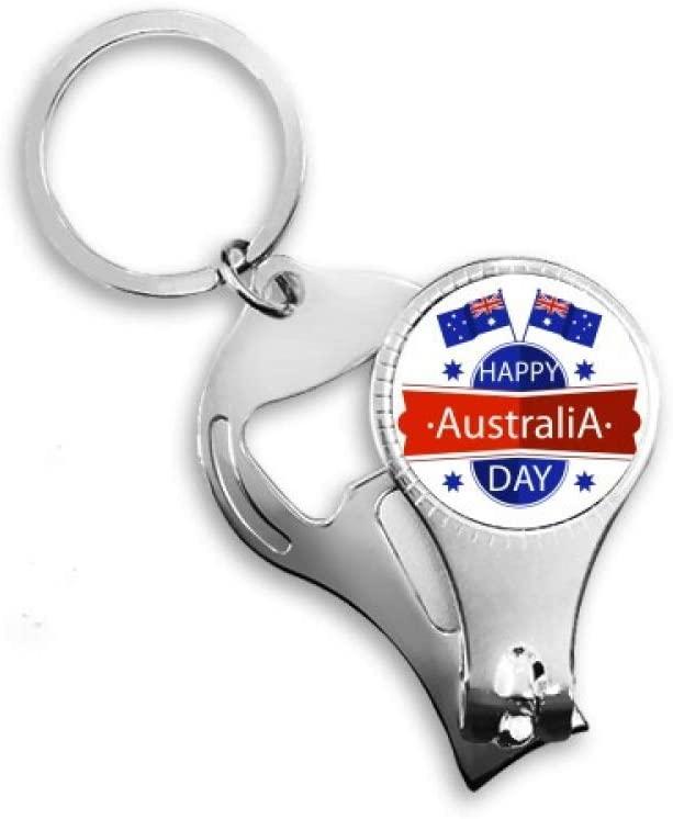Australia Happy Australia Day Flag Nail Nipper Ring Key Chain Bottle Opener Clipper