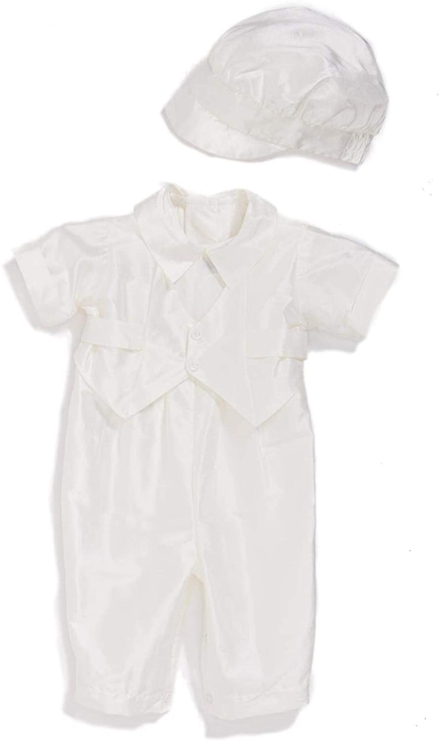 Faithclover Christening Baptism Outfit for Boys Newborn Taffeta Long Pants Suits Set with Hat