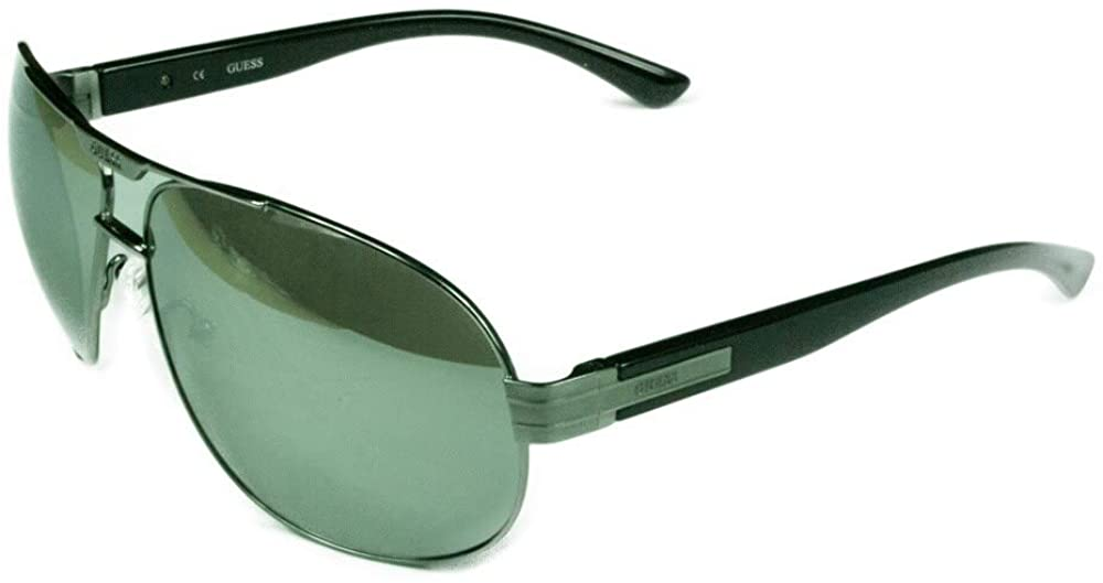 Guess Fashion Men's GF0155 08C Silver w/Mirrored Grey Lens Sunglasses - Silver/Grey