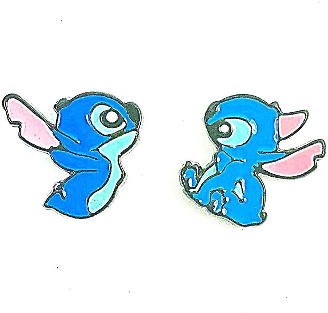 Disney Lilo & and Stitch Movie Inspired Stitch Metal Enamel Stud Earrings Great Gift
