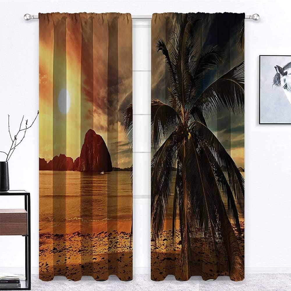 carmaxs Patio Door Curtains Ocean Beach for Gathering Room Havana Beach Sunny Tropics Mountains and Rocks Landscape Print 2 Panels 96