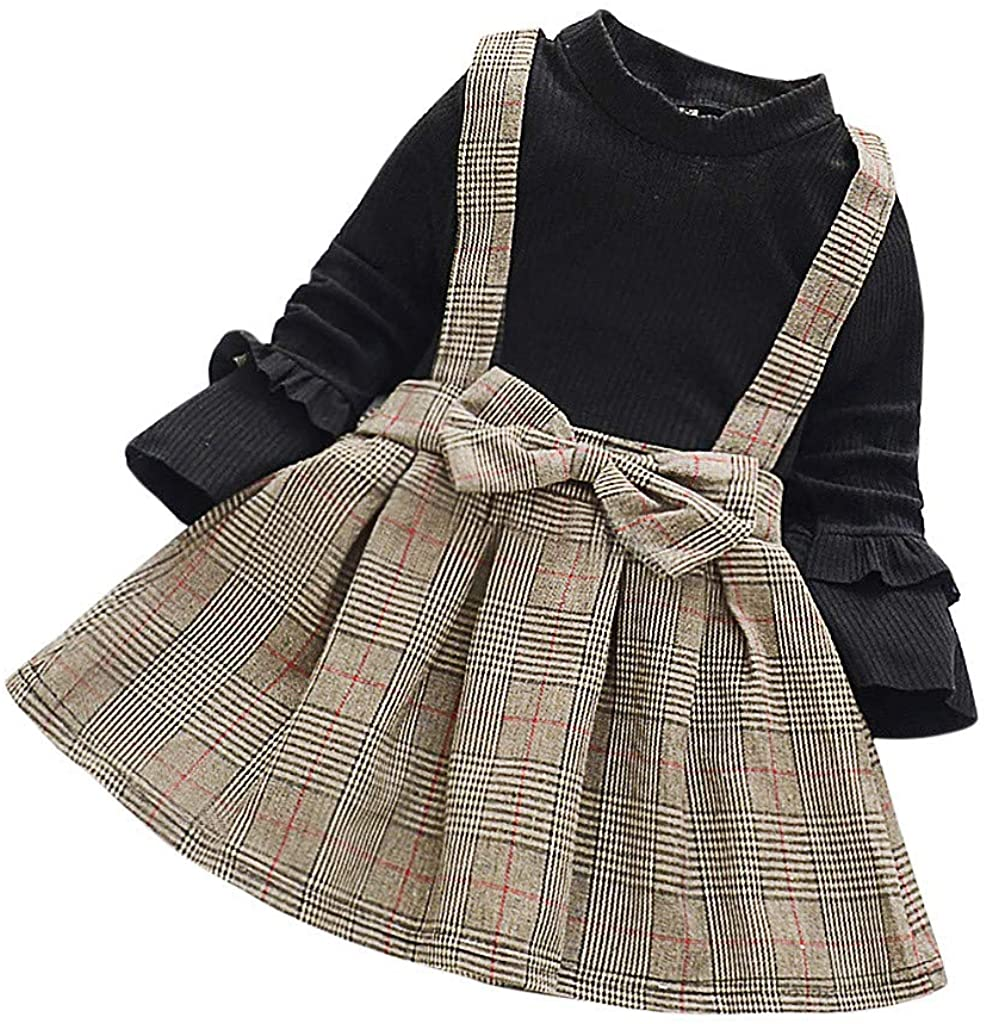Little Story Girl Baby Fashionable Children's Dress Lattice Princess Skirt Long Sleeves Girls Dress Baby Fake Two Solid Color