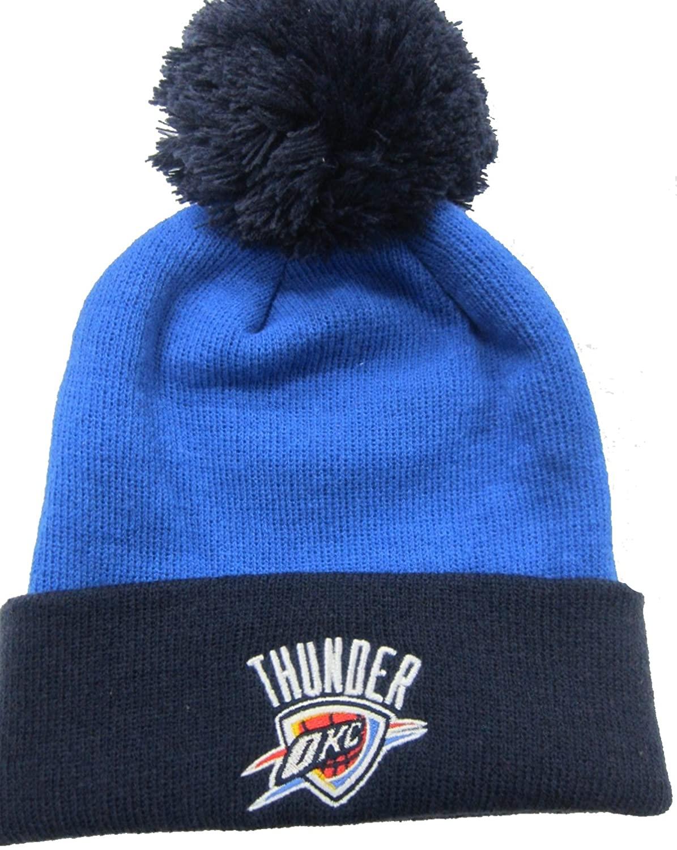 adidas Oklahoma City Thunder Light Blue/Navy Cuffed Pom Knit Cap/Beanie