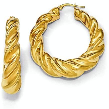 Leslie's Sterling Silver Gold-plated Twisted Hoop Earrings