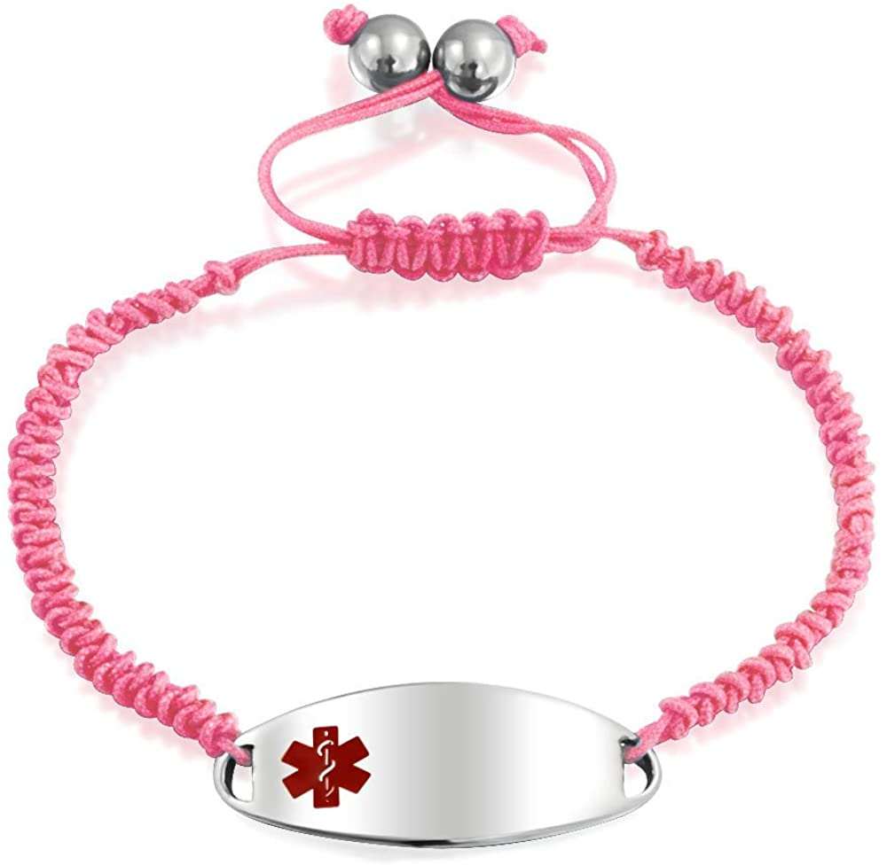 Customizable Engravable Identification Medical Alert ID Pink Braided Cord Bracelet For Women Stainless Steel Adjustable