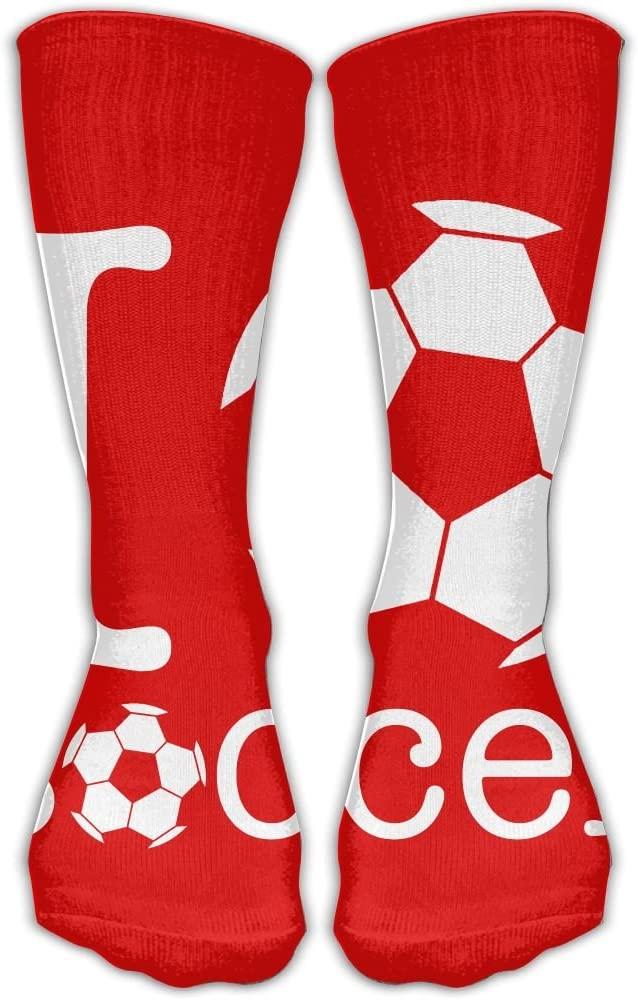 Pin-1 Love Soccer Athletic Socks Novelty Running Long Sock Cotton Socks