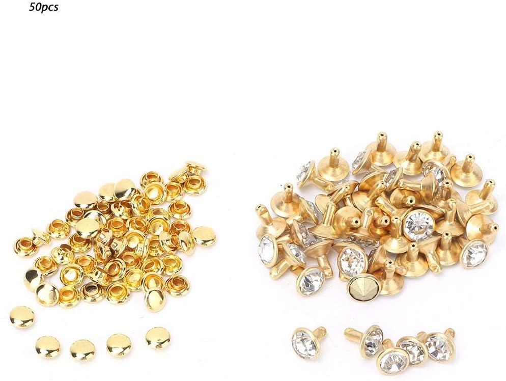 50Pcs Rhinestone Studs, Crystal Rivets Rhinestone Diamond Spikes Rivets for Leather/Belt/Handbag Leather Decoration(Silver)