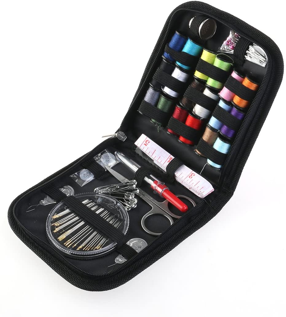 OULII Home Travel Sewing Kit with Blue Zipper Bag 58 Piece (Black)