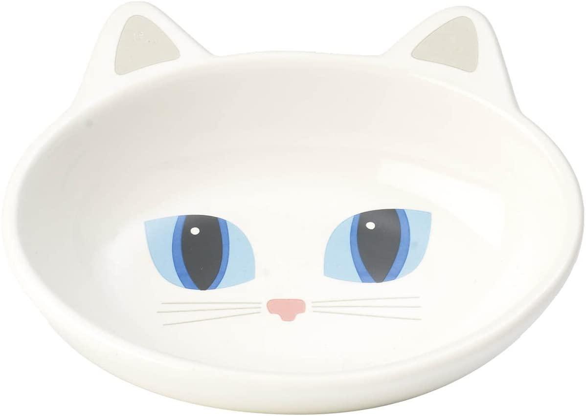 PetRageous Oval Frisky Kitty Pet Bowl, 5.5-Inch, White