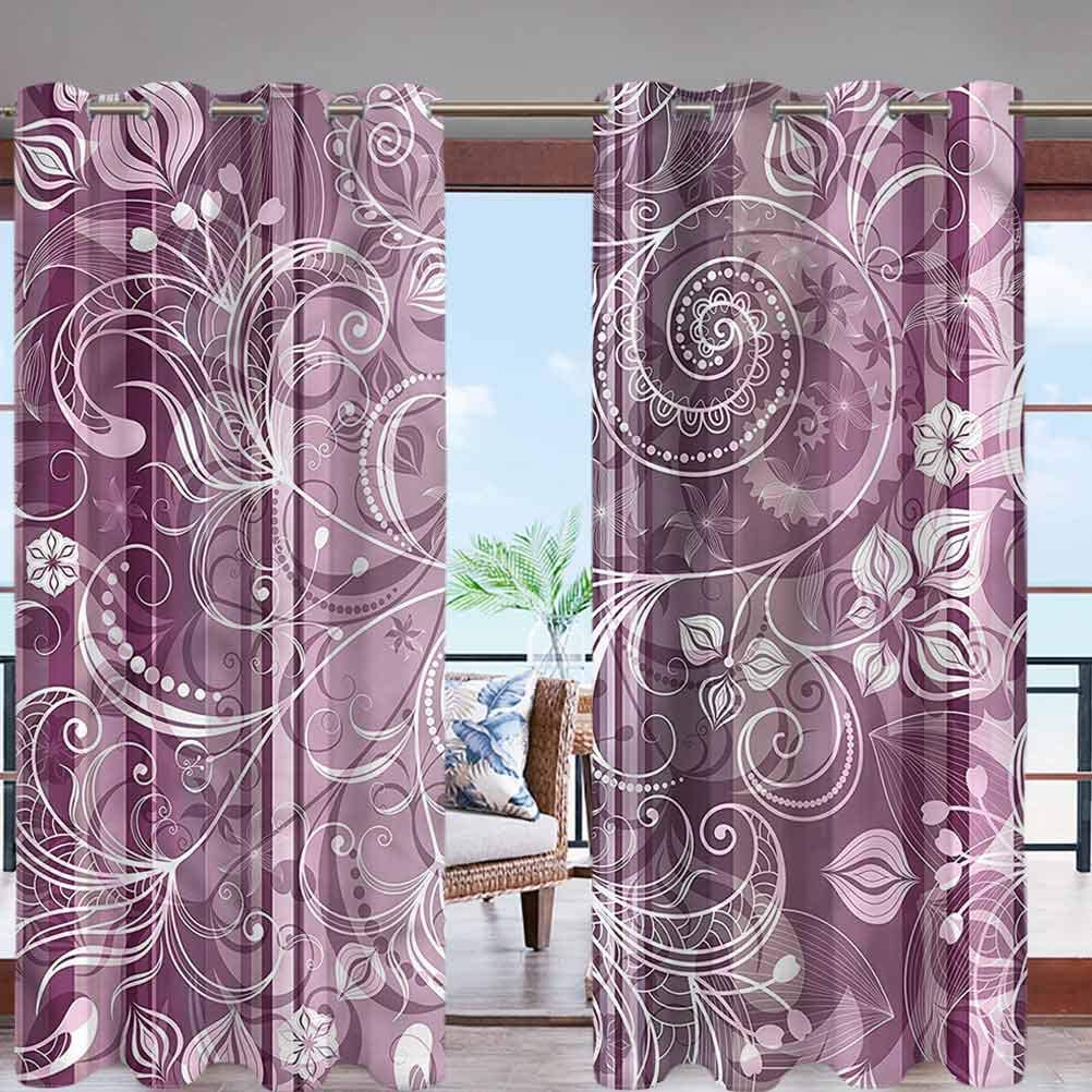 Hiiiman Outdoor Elements Curtains Waterproof Flowers Leaves Retro W84 x L84 with Grommet for Porch Patio