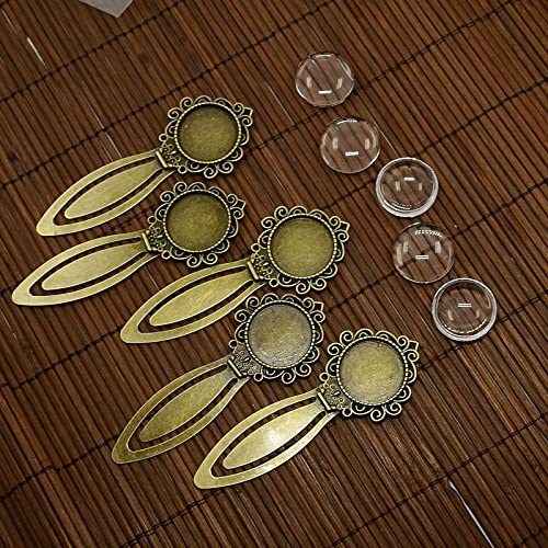 PEPPERLONELY 5 Sets Antiqued Bronze Bookmark Making Cabochon Bezel Setting with Glass Cabochons, Tray 20mm