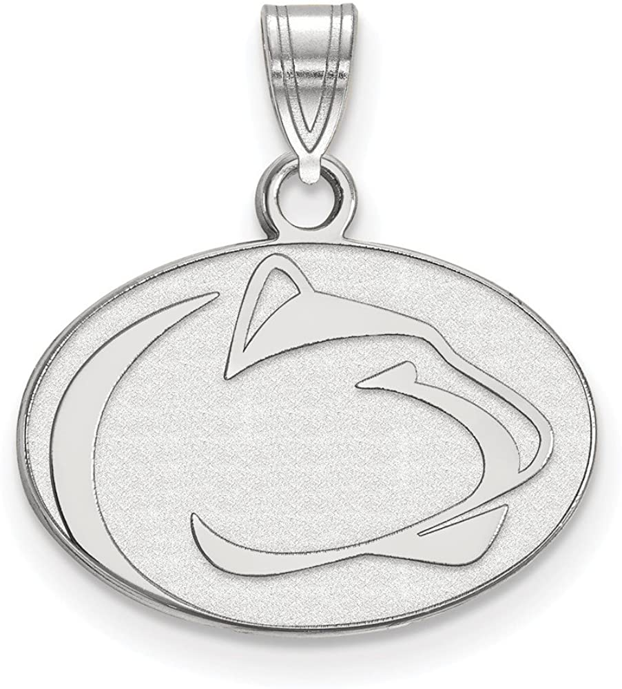 Solid 10k White Gold Official Penn State University Small Pendant Charm - 20mm x 18mm