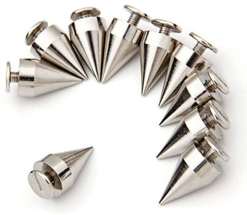 AMOMAZ 10 PCS 9.5 x 15mm Silver Spikes Pointed Studs Screw Studs Rivets Decoration