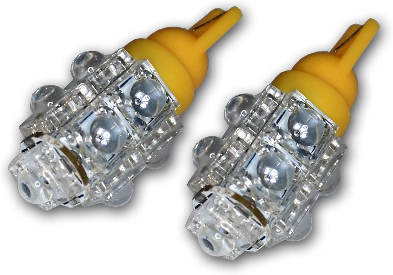 TuningPros LEDBL-T10-A9 Backup Reverse LED Light Bulbs T10 Wedge, 9 Flux LED Amber 2-pc Set