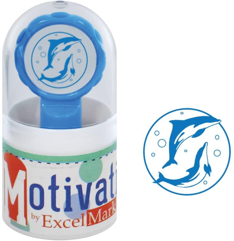 Motivations Pre-Inked Teacher Stamp - Dolphins - Blue Ink