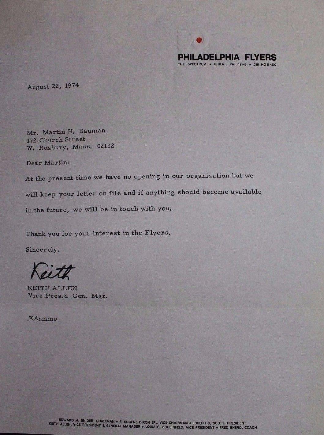 Philadelphia Flyers Official Letter Autographed Keith Allen JSA Authentic 17B - NHL Cut Signatures