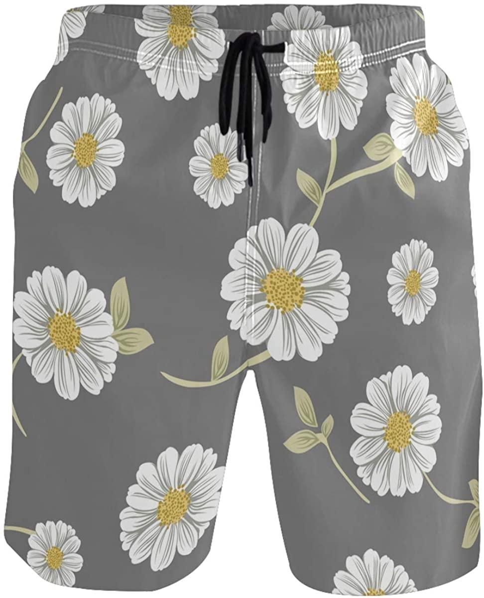 Men's Swim Trunks - Vector Small Daisies Beach Short Men Quick Dry Bathing Suit Shorts