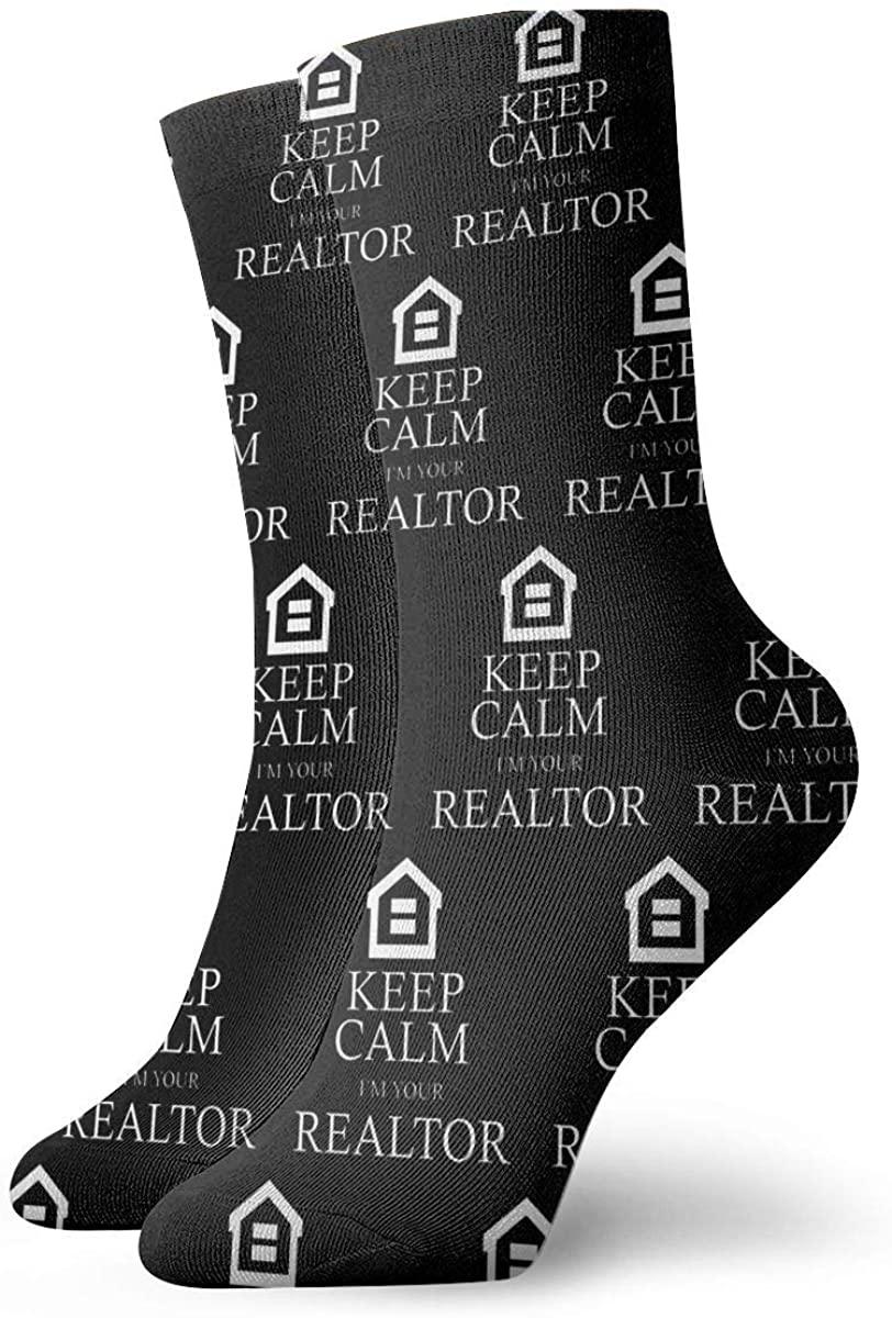 Keep Calm I'm Your Realtor. Short Crew Socks Athletic Tube Socks For Men Women