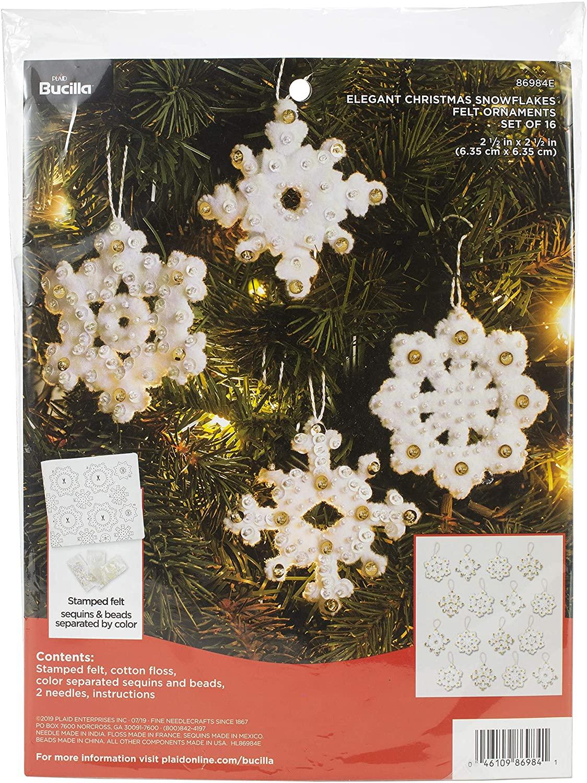 Bucilla Elegant Christmas Snowflakes Felt Applique Ornament Kit, 16 Piece
