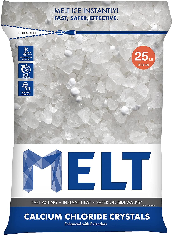 Snow Joe MELT25CC Melt Calcium Chloride Crystals Ice Melter Resealable Bag, 25-Pound