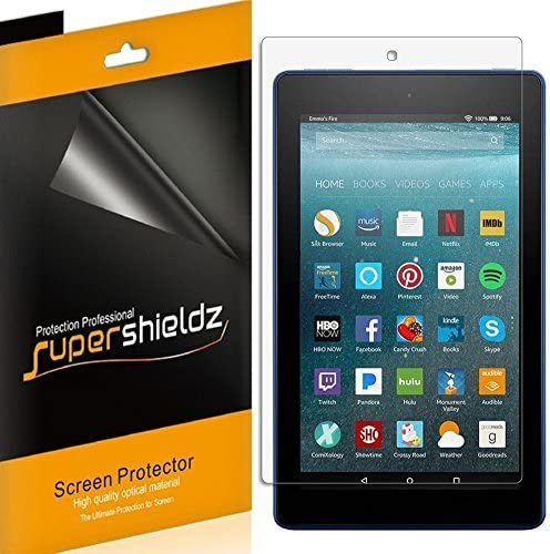 Supershieldz (3 Pack) for Fire HD 8 Tablet 8 inch (8th and 7th Generation Only, 2018 and 2017 Release) Screen Protector, High Definition Clear Shield (PET)