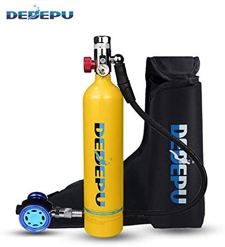 DEDEPU 1L Mini Scuba Diving Tank, S5000 Oxygen Cylinder Bottle with Aluminum Breather Valve 2 Grade, Underwater Breathing Time 20-25 Minutes