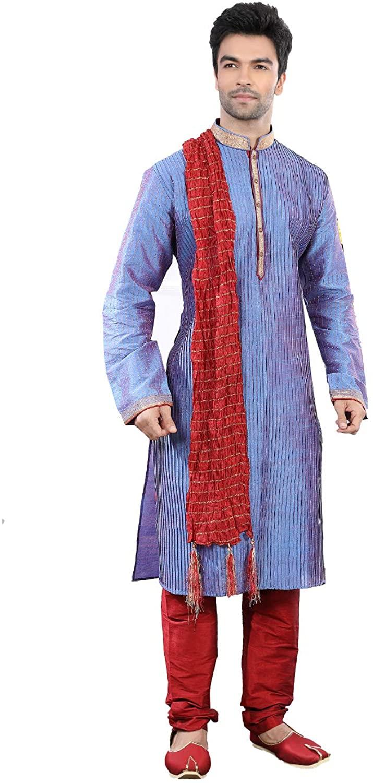 Indian Designer Partywear Traditional Ethnic 2 Tone Blue Mens Wear Kurta Pajama.