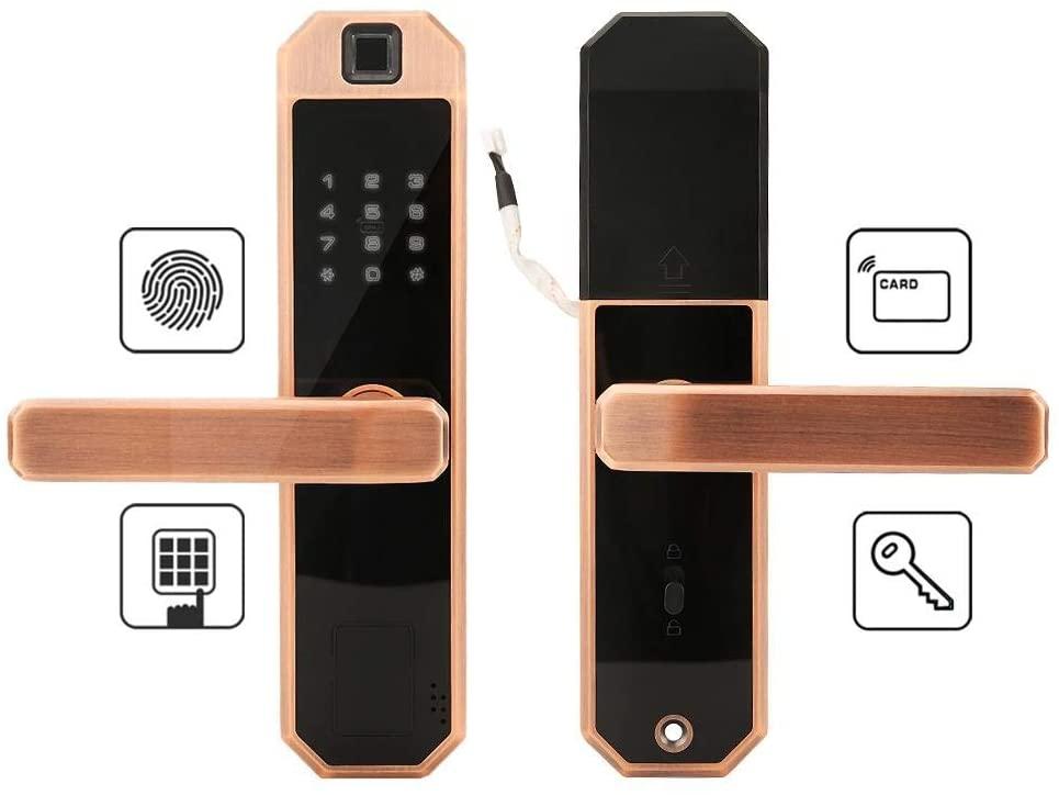 Smart Touch Screen Keypad Door Lock, Smart Touch Screen Keypad Card Password Fingerprint Lock Double Tongue Door Lock with Mechanical Key fo Apartment/Office/Villa