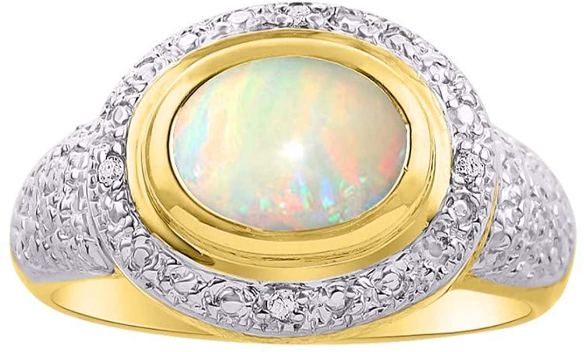 RYLOS Simply Elegant Beautiful Opal & Diamond Ring - October Birthstone