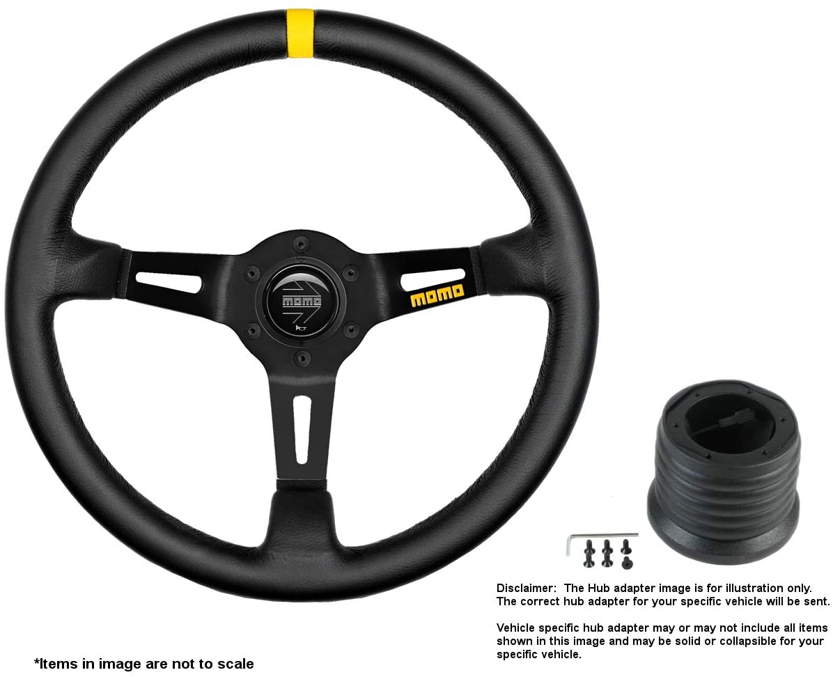 MOMO MOD.08 350mm (13.78 Inches) Leather Steering Wheel w/Brushed Black Anodized Spokes and Hub Adapter for VW Beetle Part # R1908/35L + 0248