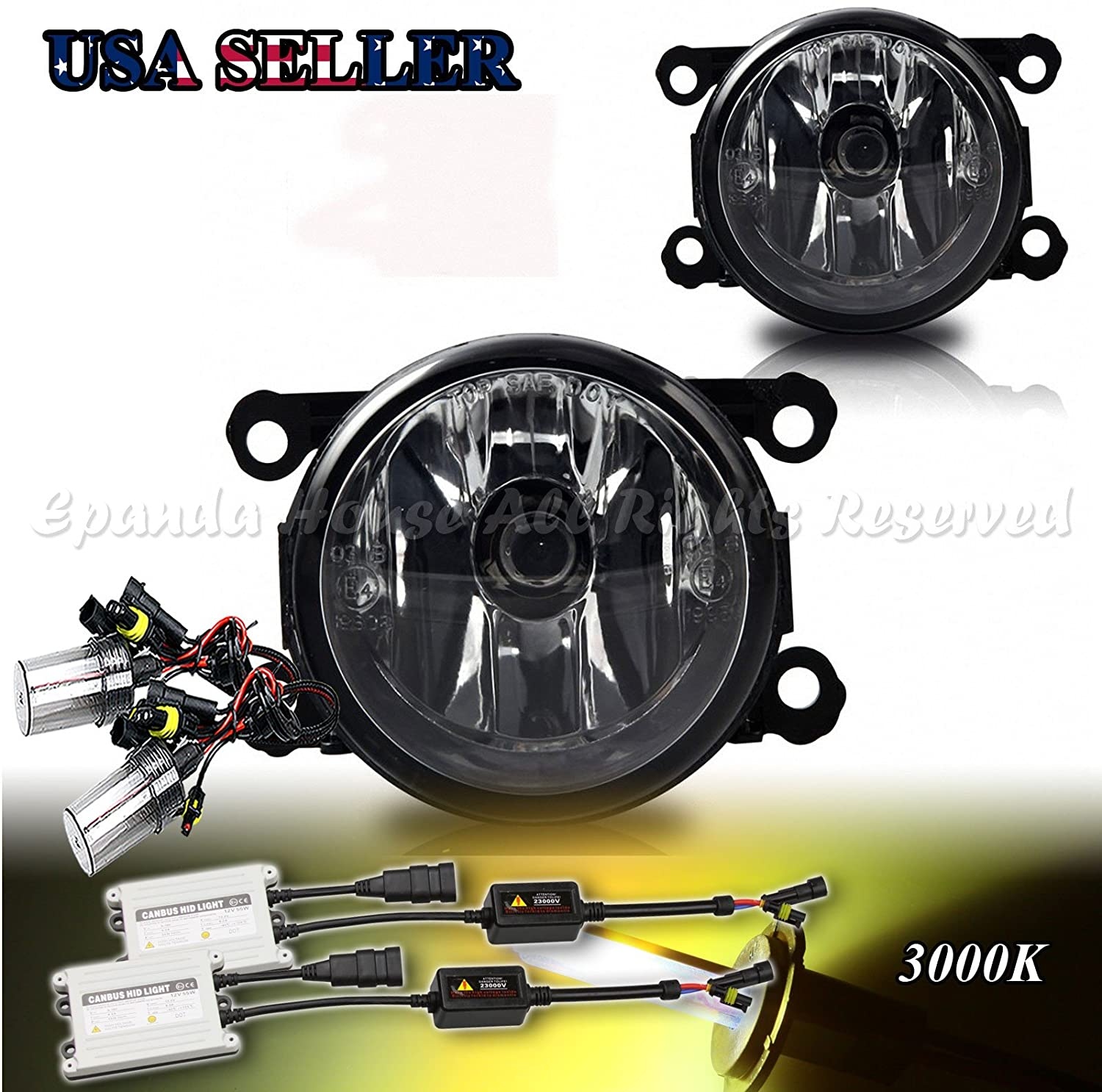 EpandaHouse Fog Lights Work for 11-14 Subaru Impreza Clear Lens DOT Fog Lights Work Direct Fit+3000K 55W HID