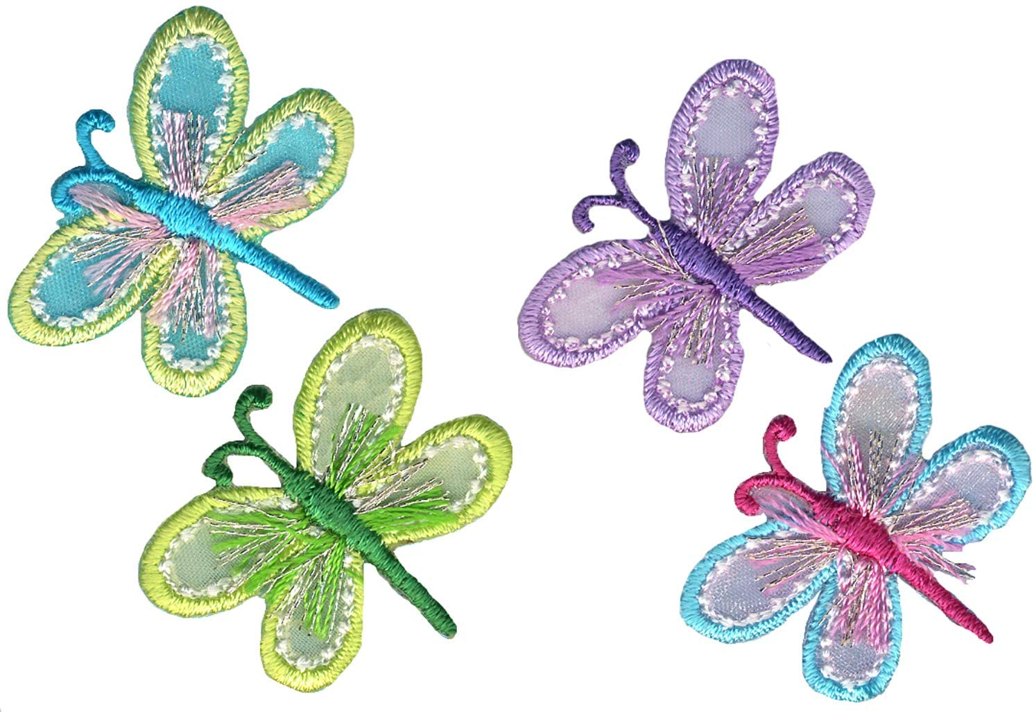 Simplicity Multicolor Dragonfly Applique Clothing Iron On Patches, 4pc, 1.25'' x 1.1