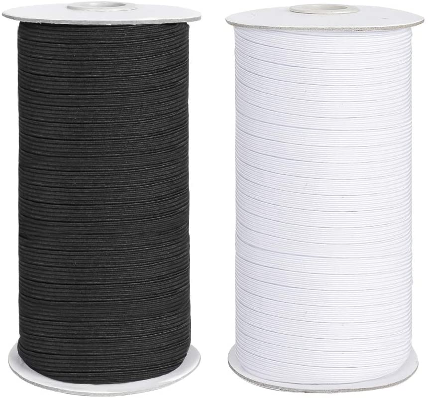 COTTILE Elastic Cord, Flat Elastic Bands for Sewing 1/4 inch Braided Stretch Strap Cord Roll (Black, 200 Yards)
