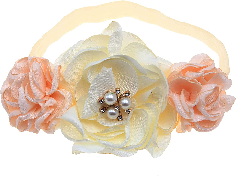 Bloomposh Infant Girls Flower Headbands Newborn Hairbands Baby Big Bows Toddlers Headress Headwear(Ivory)