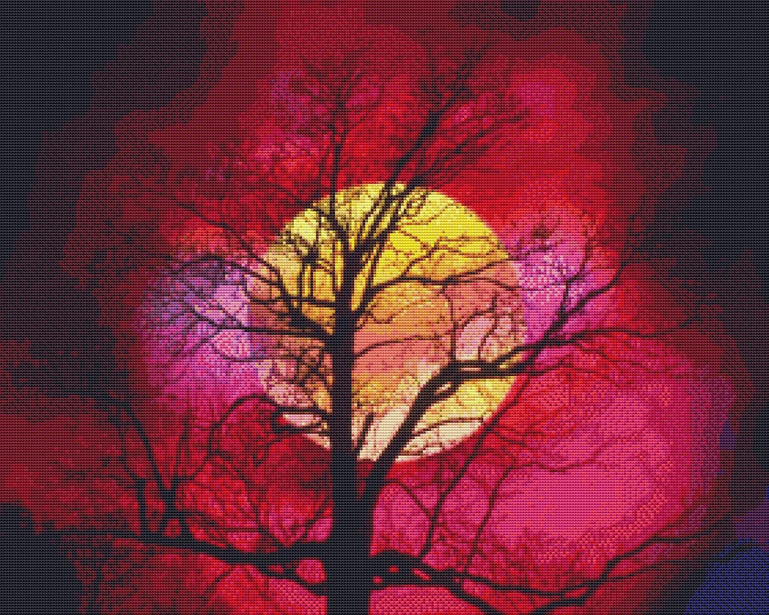 Natures Finest No. 30 Cross Stitch Pattern Beautiful Moon against Tree Silhouette Cross Stitch Pattern only (Not a kit)