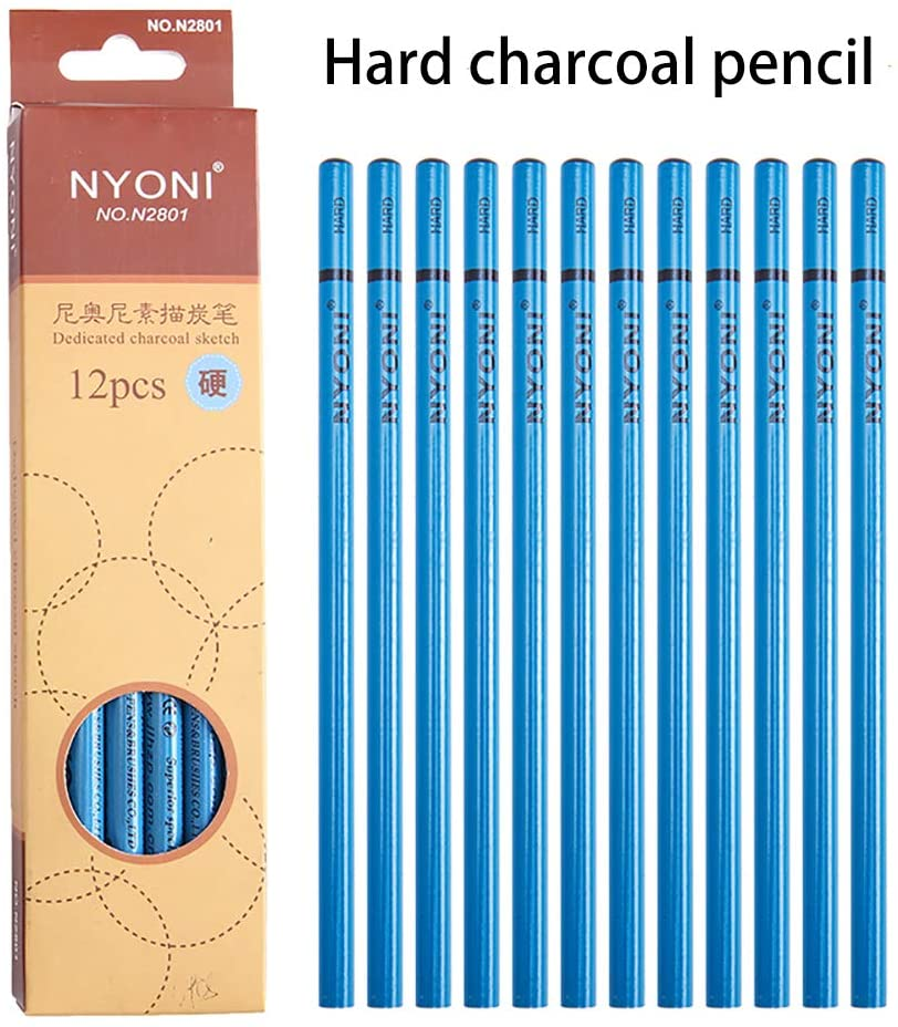 12pcs/Pack Soft Charcoal Black Lead Wood Pencil For Art Professional Sketching Hard Charcoal Sketch Charcoal
