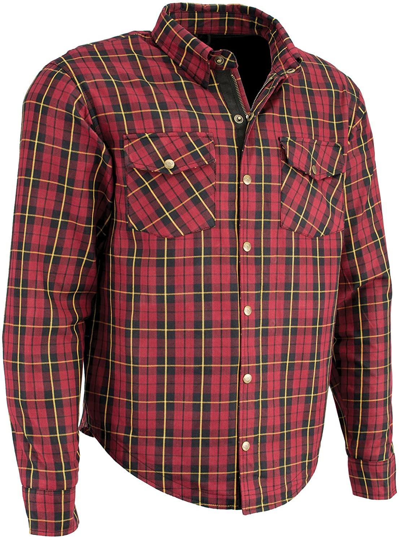 Milwaukee Performance-Men's Armored Checkered Flannel Biker Shirt w/fibers-BLK/RED/YEL-XL