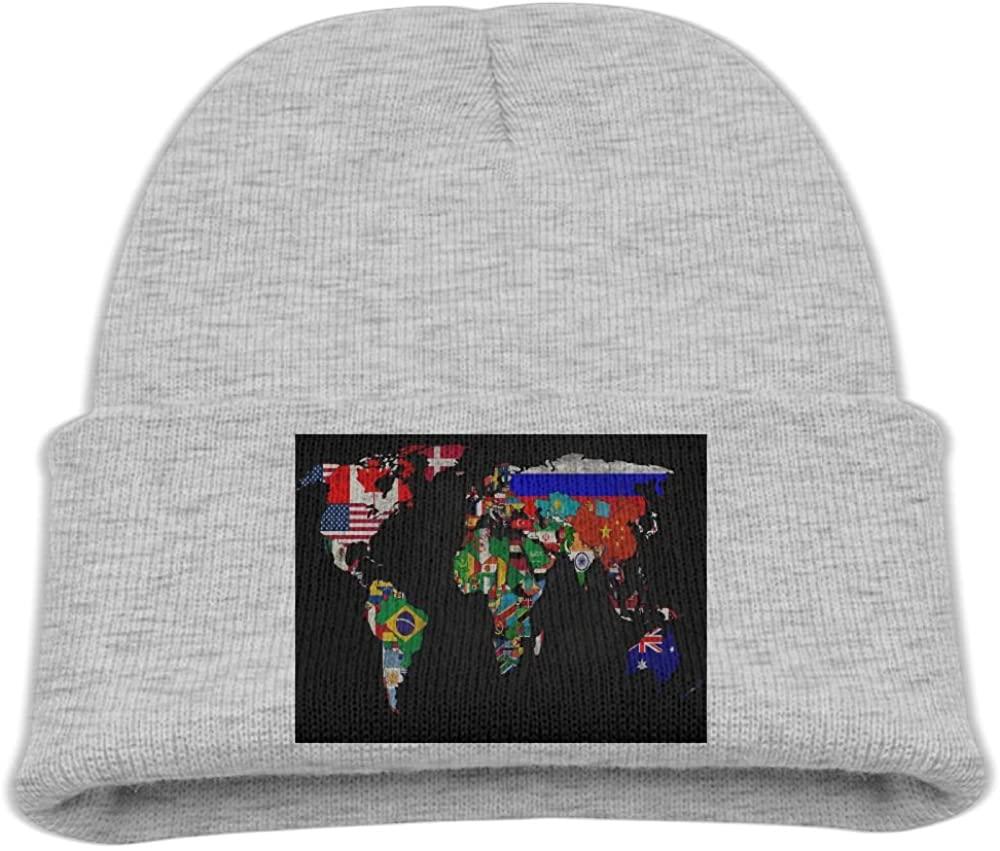 ZWZ World Map Flag Kid's Hats Winter Funny Soft Knit Beanie Cap Children Unisex
