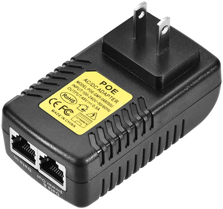uxcell Wall Plug POE Injector 100V-240V to 48V 0.5A Power Supply IEEE 802.3af Compliant for IP Voip Phones, Cameras, AP and More