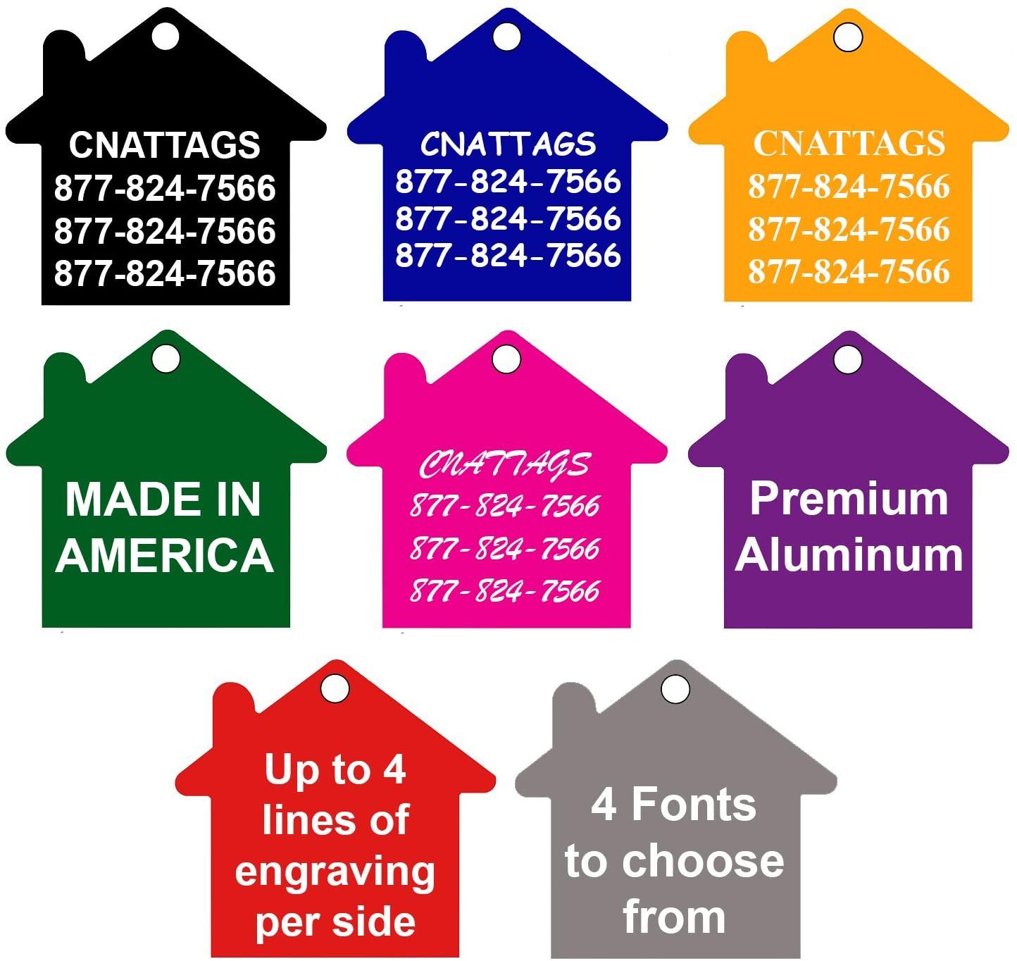 CNATTAGS Pet ID Tags House Shape, 8 Colors, Personalized Premium Aluminum