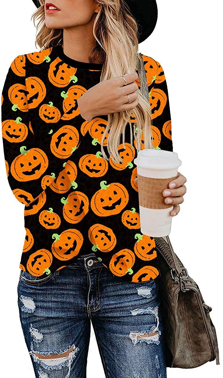 Cnokzol Long Sleeve T Shirt Women Cute Sweatshirts Leopard Print Top Crewneck Blouse Casual Tunic Blouse