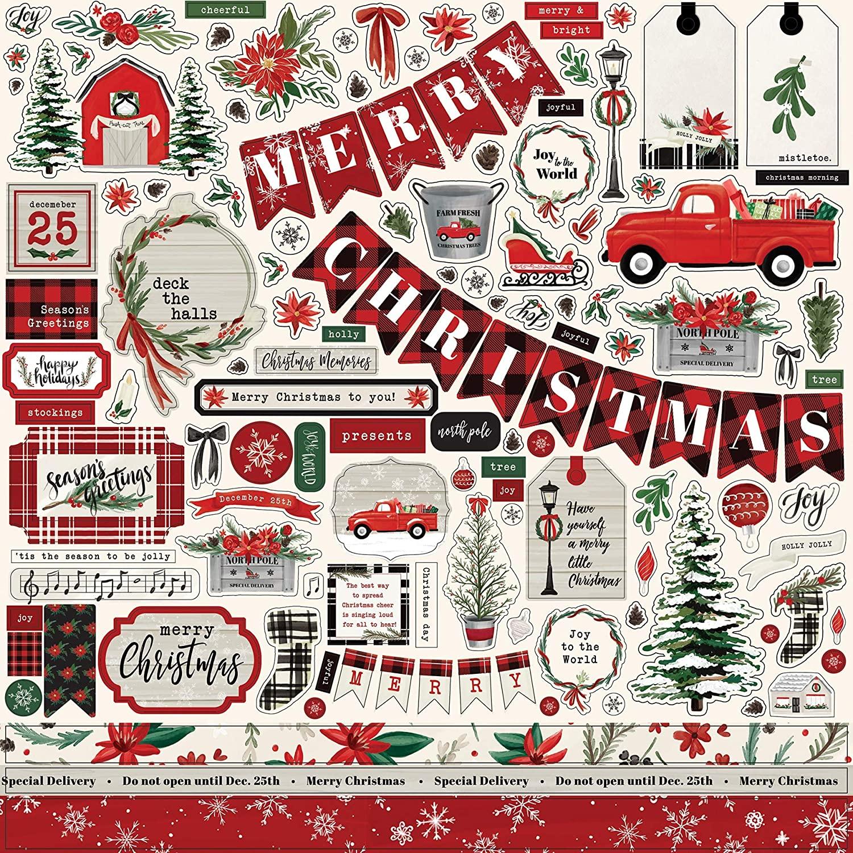 Carta Bella Paper Company Christmas Market Element sticker, red, green, black, woodgrain, cream