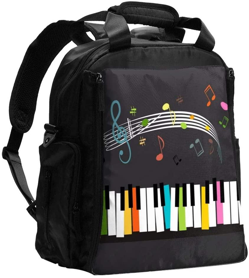HangWang Diaper Bag Backpack Color Key Piano Music Keyboard Baby Diaper Bag Tote Travel Large Mom Mama