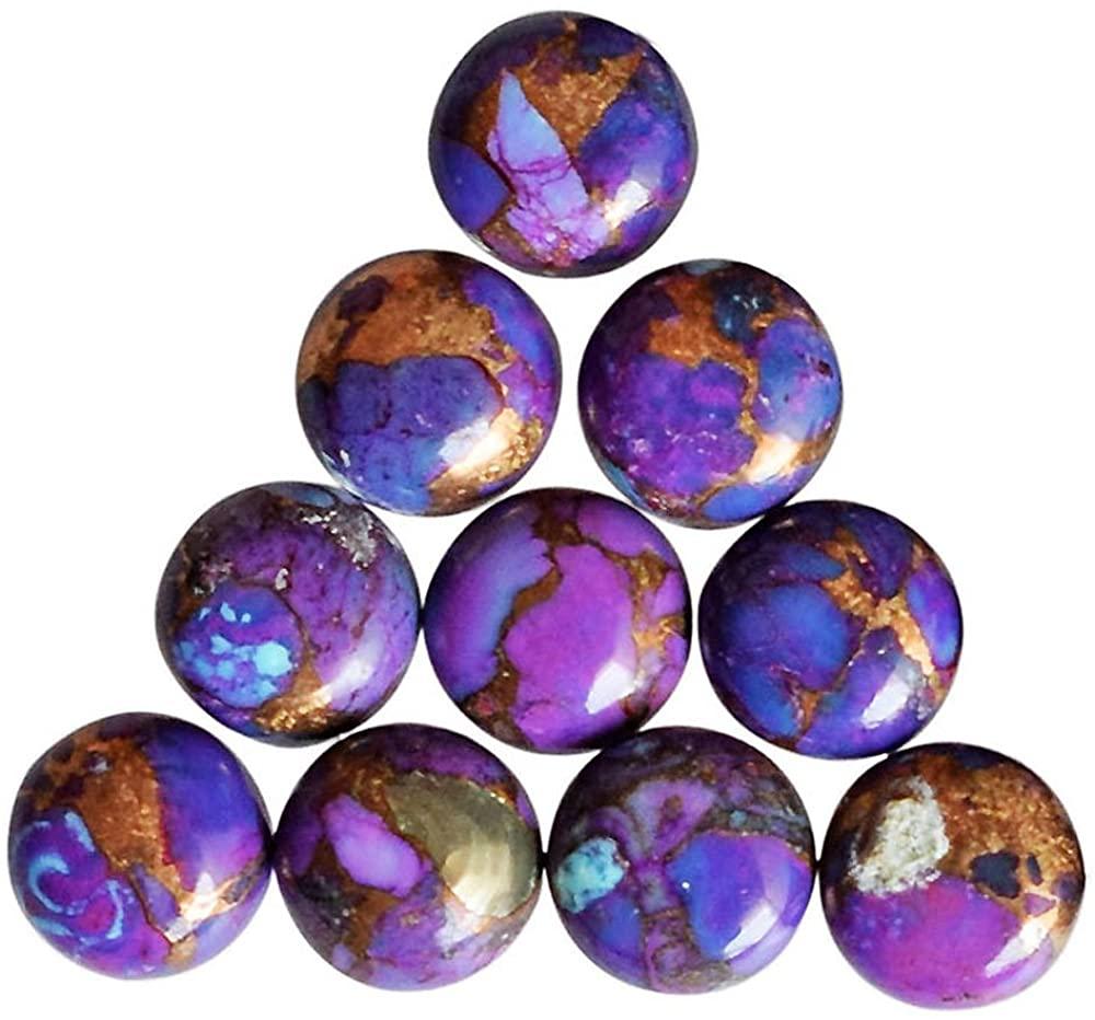 ABC Jewelry Mart 13mm Round Shape, Best Quality Purple Copper Turquoise Cabochon, Jewellery Making Gemstone