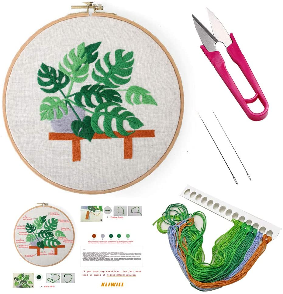 Embroidery Kit for Beginners with Pattern-Kliwill Basic Starter Cross Stitch with Instruction for Adults Kids with Full Set Kits