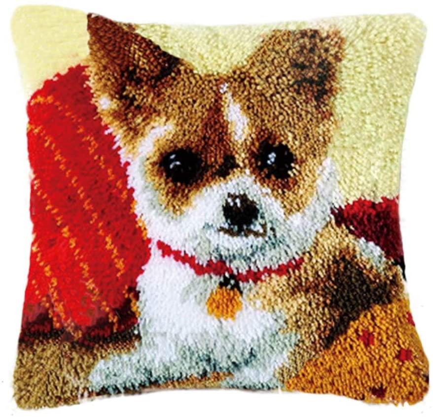 TQQT DIY Latch Hook Rug Kits Cushion Carpet Mat Cover Hand Craft Embroidery Pillowcase Crocheting Yarn Sewing Cartoon Handmade Baby Kids Adults Parents Gift Corgi