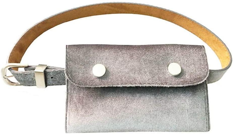Monkibag-WW Women's Waist Bag Women Girls Small Belt Bags Waist Bag Gold Velvet Solid Fanny Pack Adjustable Removable Belt with Waist Pouch Travel Bumbag Cell Phone Money Pouch Leather Waist Packs